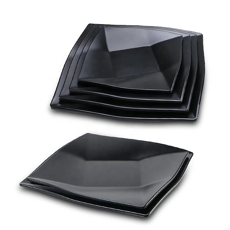 100% melamine plastic tableware restaurant hotel custom logo dinnerware black dinner plate dish sets