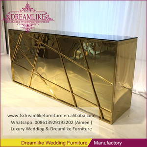 Wholesale price golden frame black glass top stainless steel bar counter tables