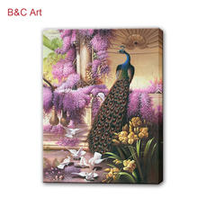 Natural Scenery Wall Picture Luxurious Decor Peacock Oil Painting
