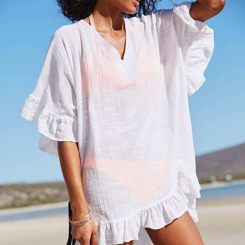 ZH2842G Ruffles boho beach dress female 2018 butterfly sleeve big sizes summer dresses for women v neck sexy short pareos sale