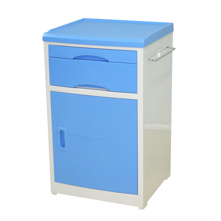 ABS Medical Furniture Hospital Blue Bedside Cabinet Table