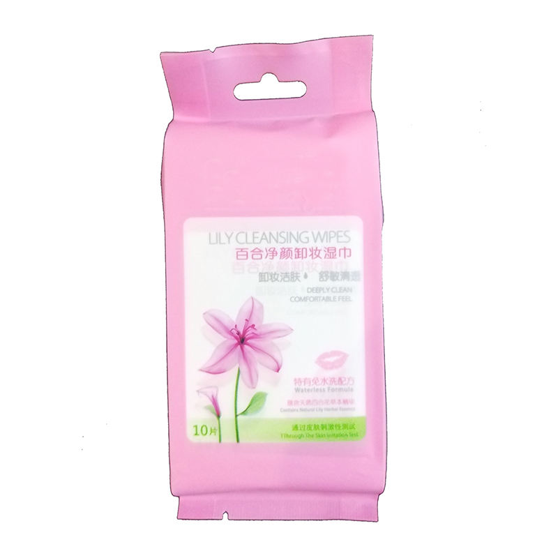 GWW431 10Pcs/Bag Individually Packed Lily Fragrance Antibacterial Make Up Remover Cotton Wet Wipes for Women