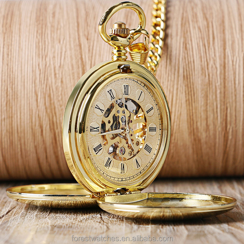 Retro Full Gold Color Skeleton Smooth plain Pocket Watch