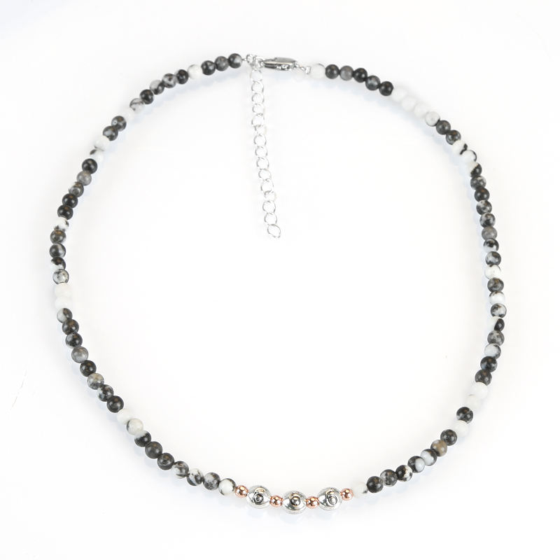 4mm Round Zebra Jasper stone Necklace, Natural Stone Beaded Necklace with Charms