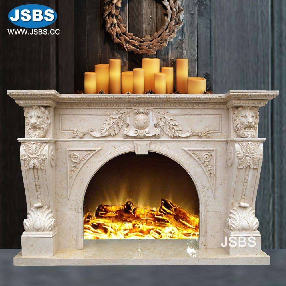 cheap China Factory Price classic cheap hand carved marble lion head fireplace mantel