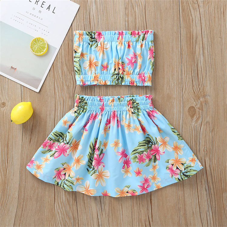 Summer fashion girl outfits sleeveless floral tops+ skirt 2pcs boutique children gril clothes set