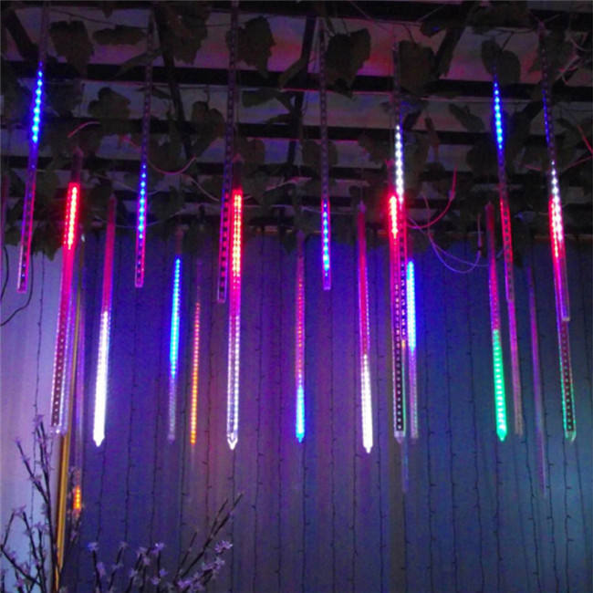 Waterproof solar led meteor shower light outdoor christmas meteor tree lights for Party decor