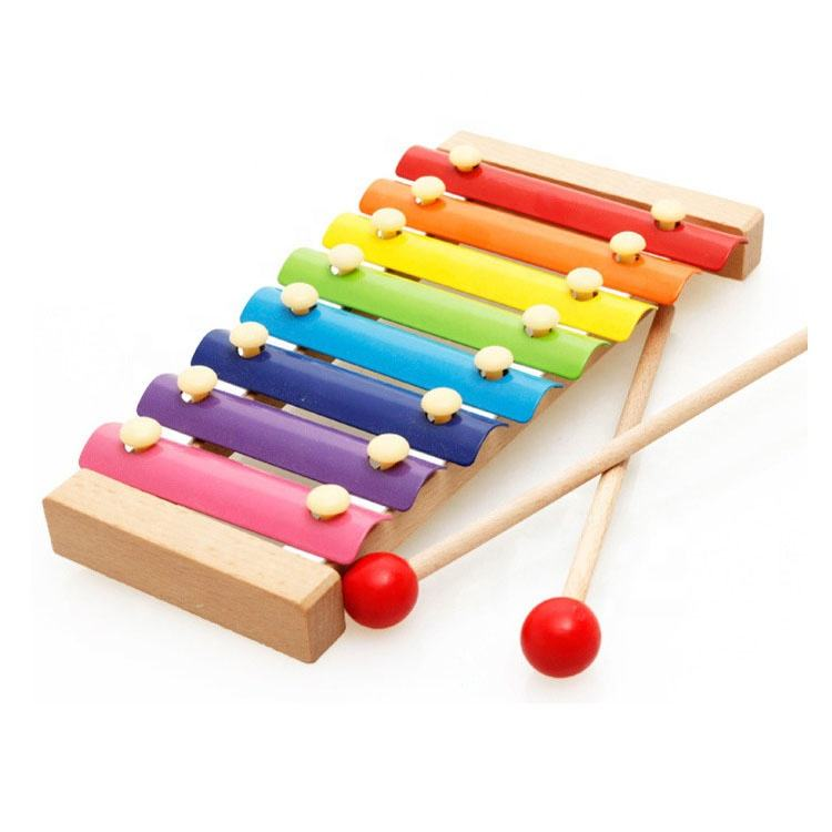 Whosalse Instrument Baby 8 Tones Musical Wooden Xylophone for Kids