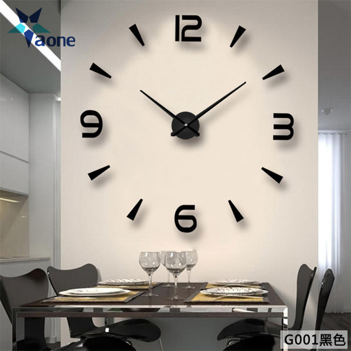 Custom Amazon Hot Selling DIY Large Wall Clocks 3D Mirror Surface Sticker Home Office Decor Acrylic Wall Clock Models