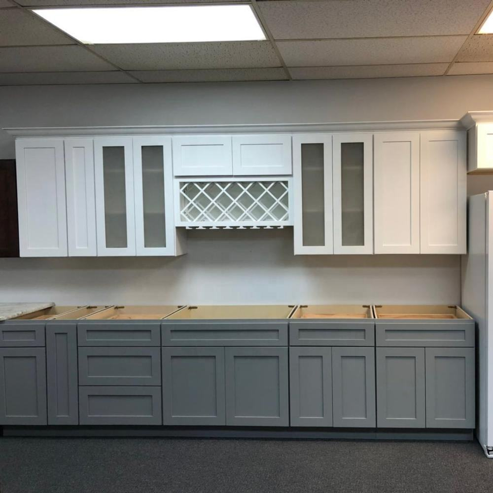 Ready to assemble white shaker and grey shaker solid wood kitchen cabinets