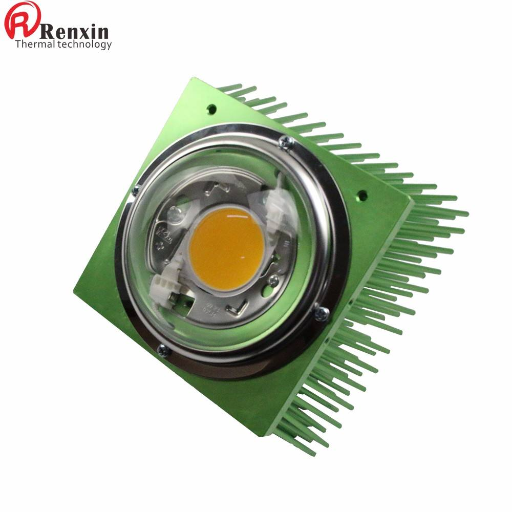 splayed green square pin heatsink 125mm for LED 100W grow lights
