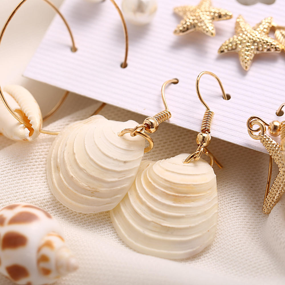 3pair 6 pair/set pearl shell starfish earrings sets for women new fashion 2019 pendants boho beach jewelry earrings