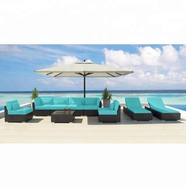Green top sale luxury hotel outdoor rattan pool furniture for sale