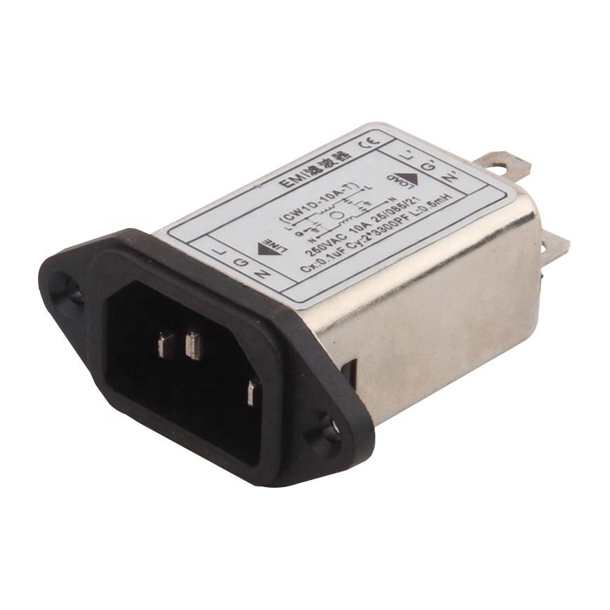3PIN AC power socket emi emc filter 3A 6A 10A