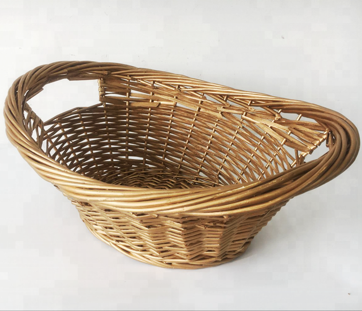 HIGH QUALITY GOLDEN AND SILVER BOAT SHAPE HANDWOVEN WILLOW BASKET FOR STORAGE