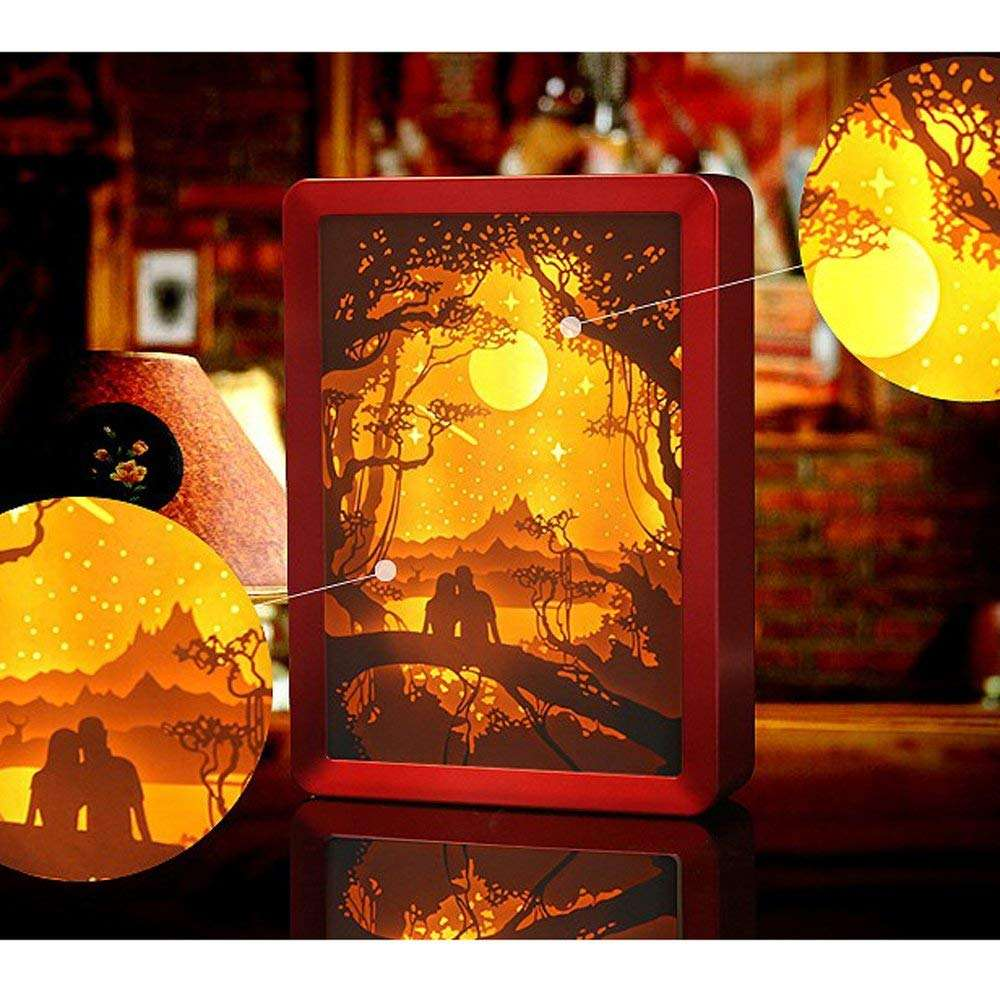 led light 3d shadow box wholesale wooden frames night lamp