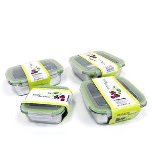 Potluck Lunch Box Stainless Steel 304 food grade kids Square Lunch Box Set 3 pieces Leakproof
