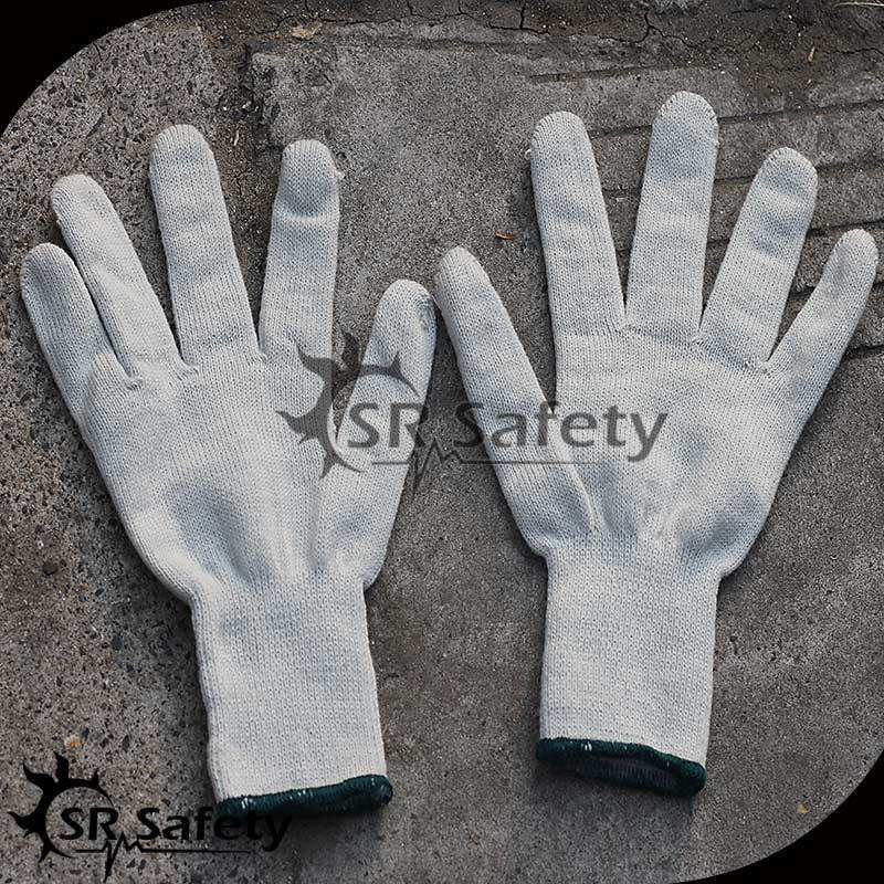 SRSafety 7 Knitted cheap cotton knit hand fitness gloves/eldiven/guantes