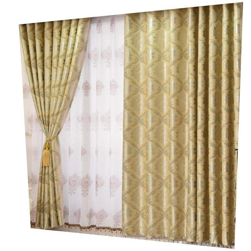 hot selling 100% polyester ready made jacquard blackout curtains fabric