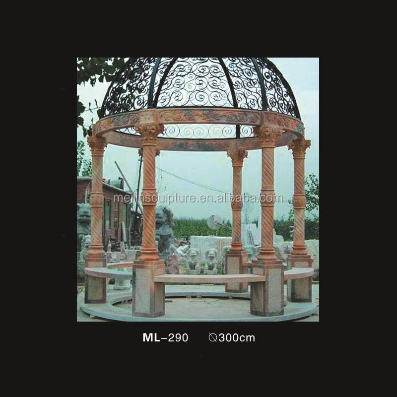 natural stone sunset red hand carved garden decoration gazebo with six pillars