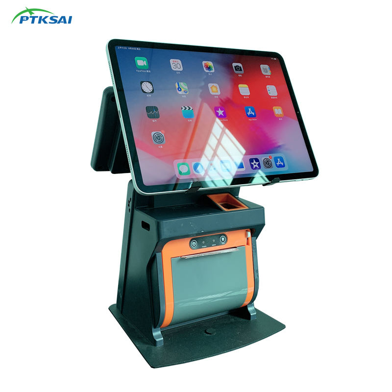PTKSAI All in One POS Sistema Tablet Stand con Stampante per iPad Android di Windows Tablet POS