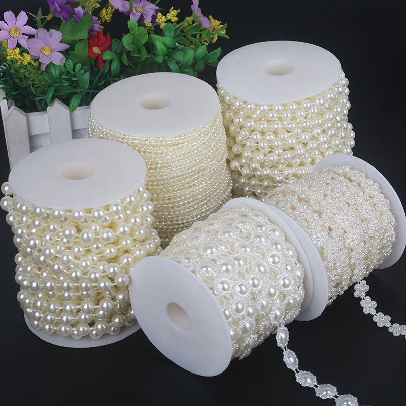 Wholesale 3-16mm Ivory Fake Pearl Strand Beads String For Wedding Decoration Diy Decorative Accessories Plastic Beads chain roll