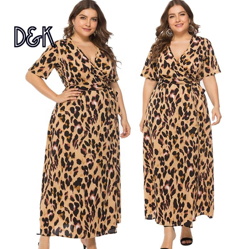 Vrouwen Plus Size Sexy Luipaard Animal Print V-hals <span class=keywords><strong>Korte</strong></span> Mouwen Gordel <span class=keywords><strong>Kimono</strong></span> Wrap Strand Toevallige Midi Jurk