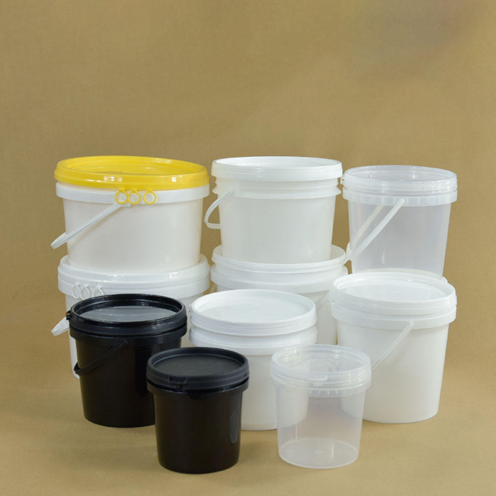 black White transparent kids toys packing pp plastic beach bucket 1 to 10 liter with lid with handle printing