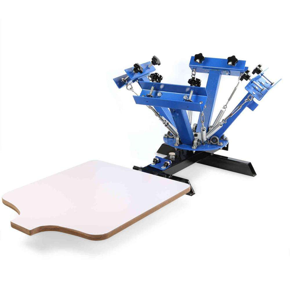 4 color 1 station table top rotary silk screen printing machine