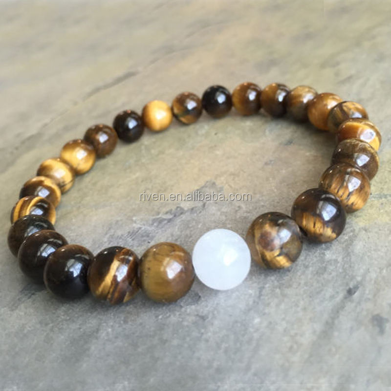 SN1262 8mm White Jade and Yellow Tiger's Eye Natural Stone Beaded Elastic Stretch Healing Meditation Beads Bracelet