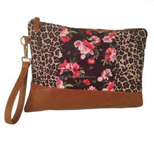 Wholesale Blanks Women's Leather Canvas Leopard Print Floral Wristlet Purse
