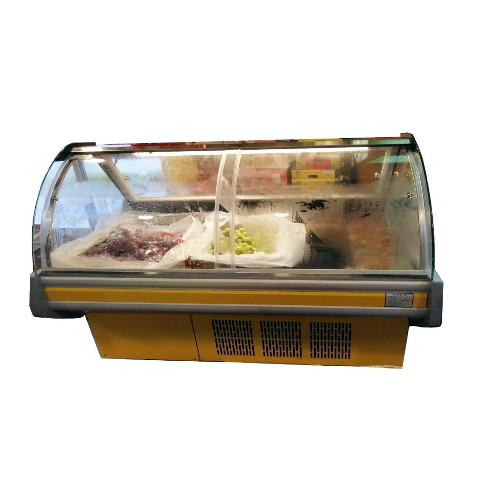 Curved glass chiller Butcher deli cold fresh meat refrigerator display freezer Showcase