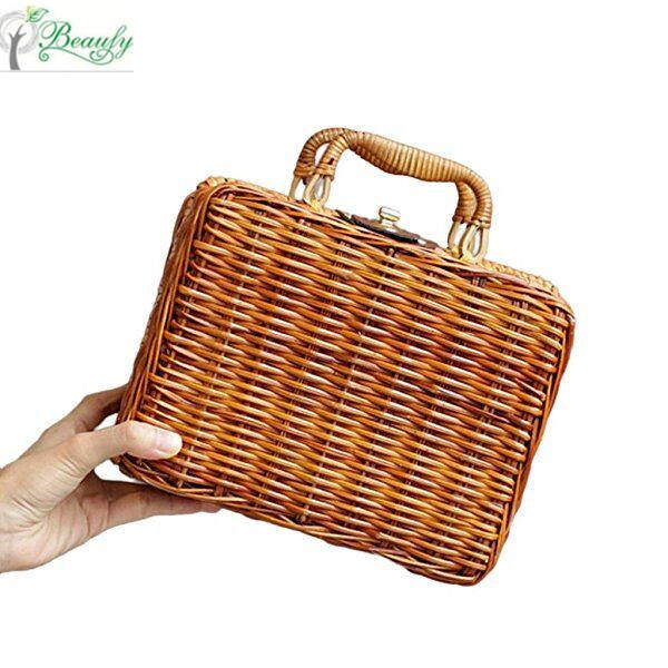 Bamboo Bag Summer Ladies Tote Luxury Designer Purses Travel Handbags