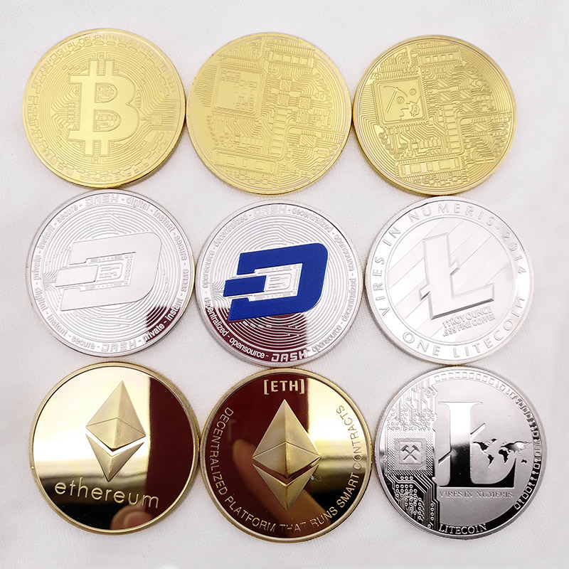 Oro all'ingrosso ha placcato souvenir bitcoin litecoin dashcoin ethereumcoin moneta cryptocurrency moneta