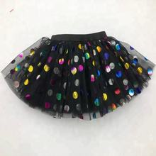 Unicorn Design Baby Tutu New Arrival Black Kids Girl Tutu Skirt With Rainbow Polka Dots