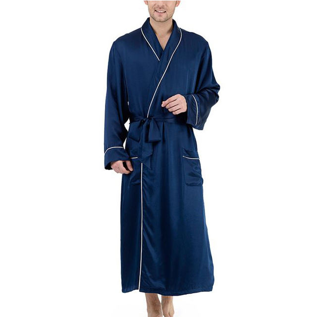 blue satin robe super soft sleepwear men short silk robe