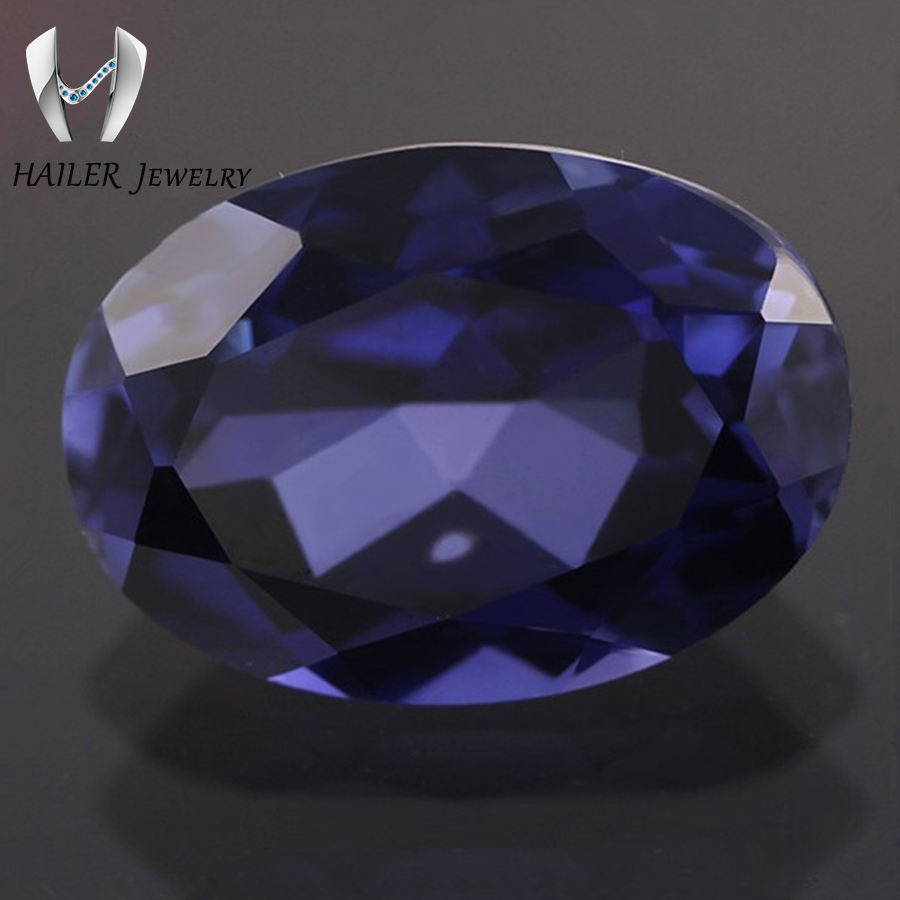 faceted loose synthetic oval blue sapphire