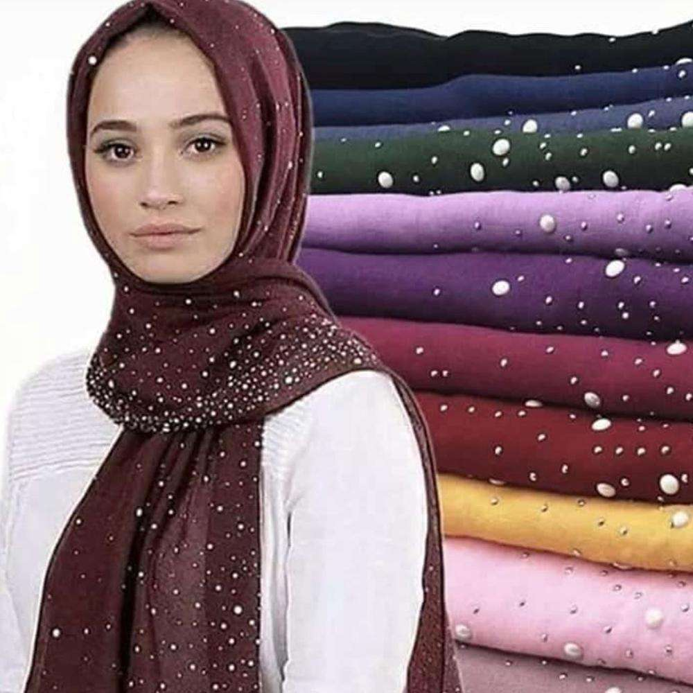 latest winter scarf with diamond plain cotton shimmer hijab scarf cotton viscose hijab with stone