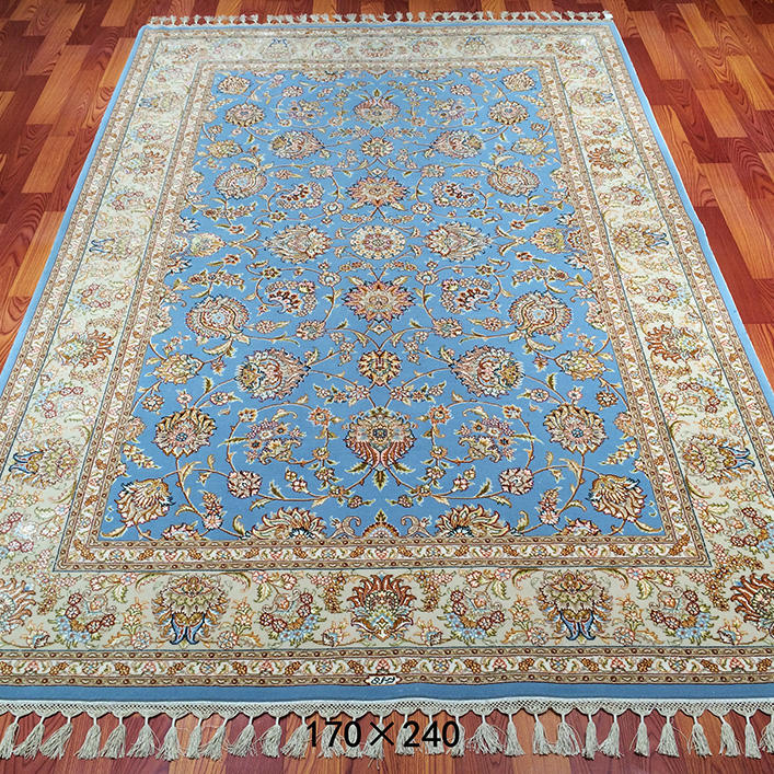 Most Beautiful Handknotted Floor Carpet Blue Color Wool Silk Rug Persian
