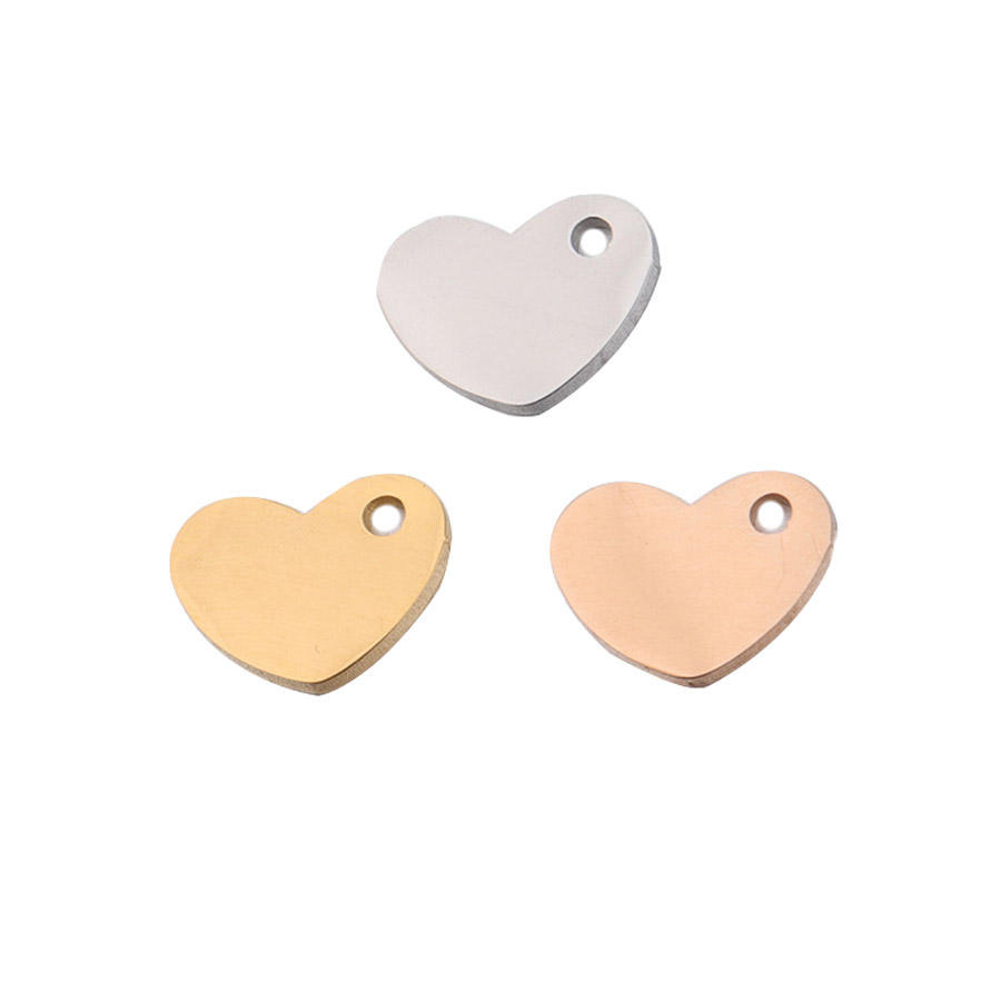 7.5x10mm Fashion Stainless Steel Small Blank Gold Plated Jewelry High Polished DIY Bracelet Necklace Love Heart Charm