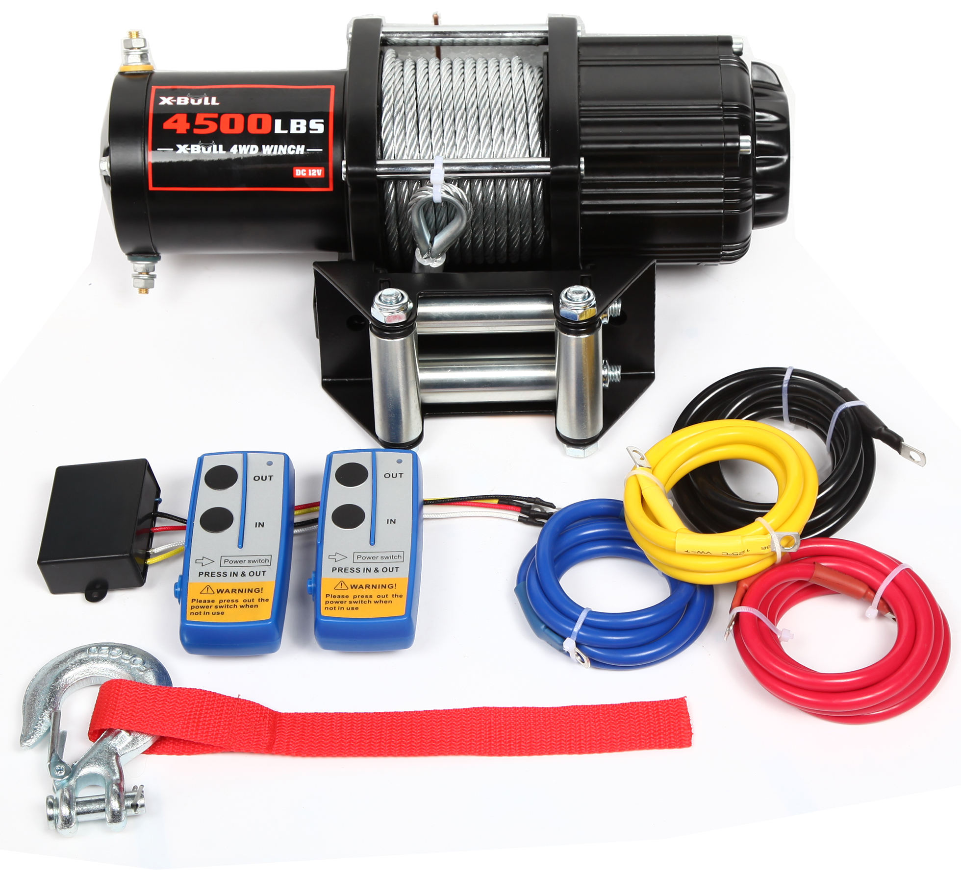 Atv Winch [ Winch Rope ] Electric Winch 12V 4500LBS/2041kg Wireless Synthetic Rope 2 Remote ATV 4WD