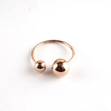 Wholesale 316L Stainless Steel Adjustable Open Rose Gold ball Rings for Ladies
