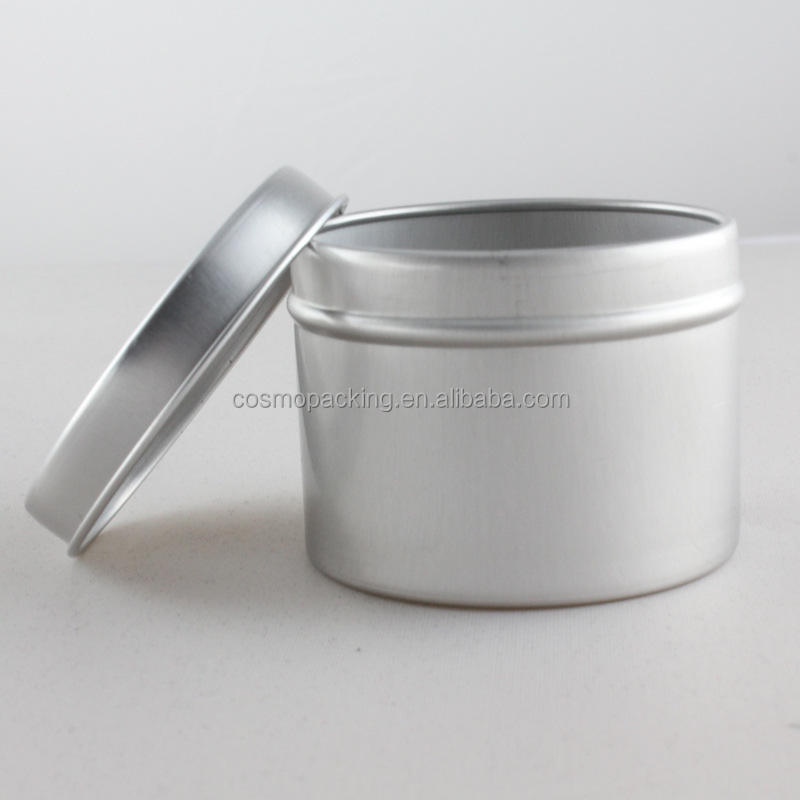 aluminum tin for pomade,round 2 oz metal tin can,60ml aluminum tin can screw top lid