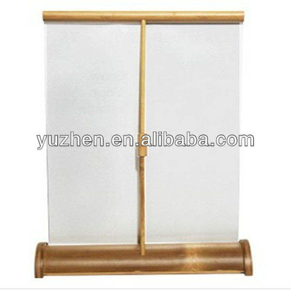 Mini bamboe Roll up Banner Stand Desktop roll up stand
