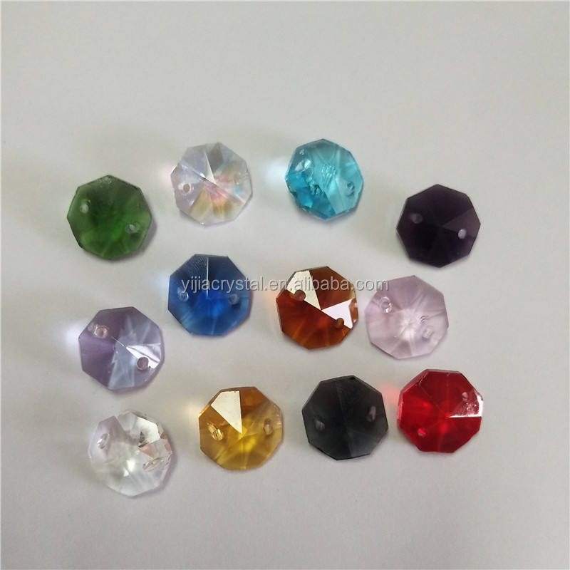 14mm crystal octagon 2 hole beads lamp decoration, bead curtain supplies
