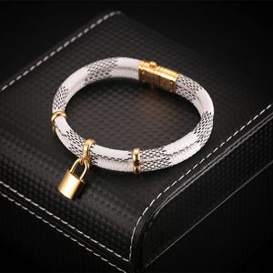 Replica leather 14k gold filled bangle bracelet