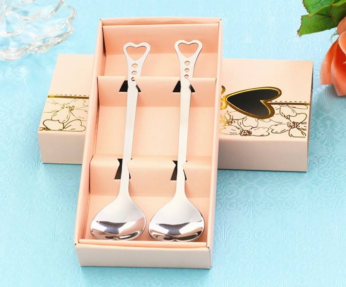 stainless steel silver Love Heart Spoon fork set Wedding souvenirs