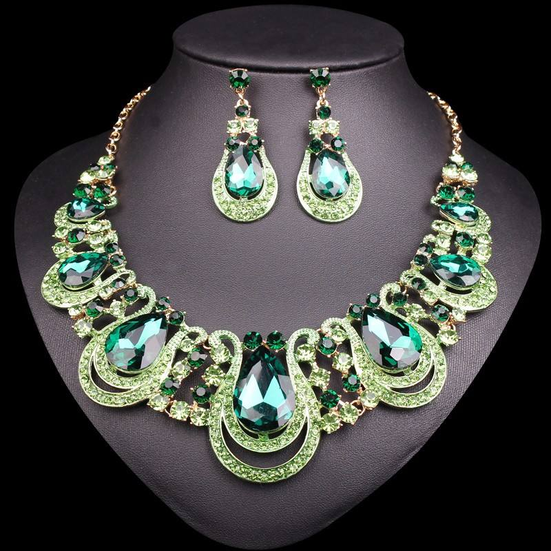 2019 New Wedding Bridal Costume African Indian Jewelry sets Big Rhinestone Colorful Crystal Necklace Stud Earring Set Women