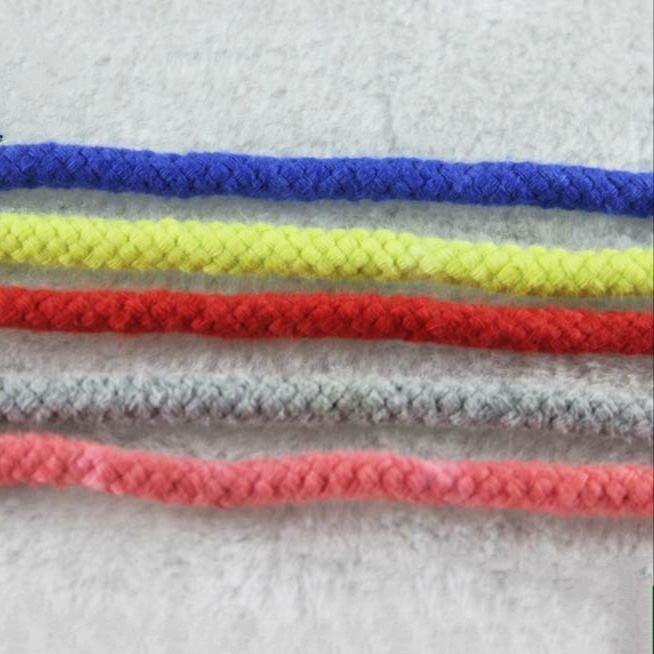 Factory bulk cheap 4mm soft colored round cotton braided cords decorative cords shoelace drawstring