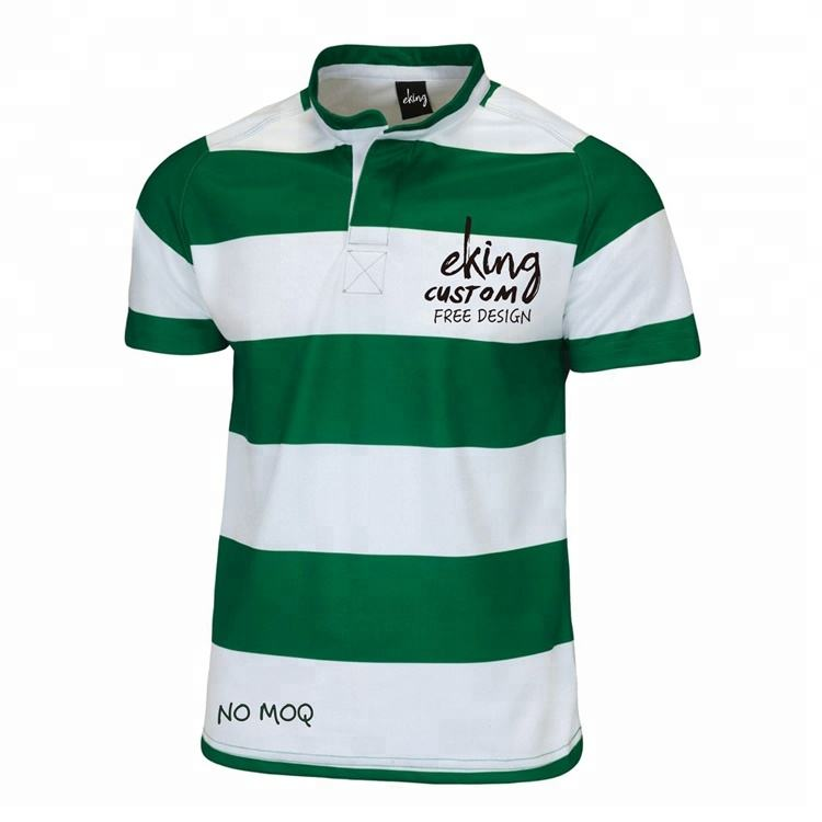 OEM Sport team set custom rugby jersey designs sleeveless / short sleeve Blank Professional Dye Sublimation rugby t shirt